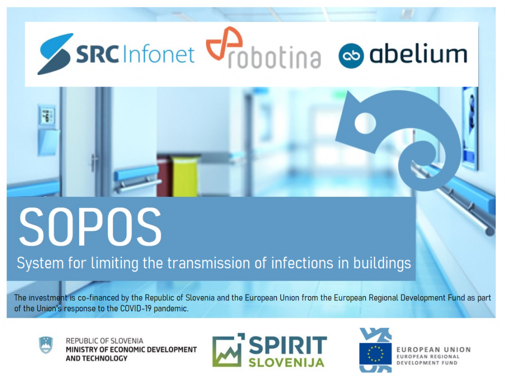 Robotina d.o.o., SRC Infonet d.o.o. and Abelium d.o.o. have obtained co-financing of Operation SOPOS – System for Limiting Transmission of Infections in Buildings